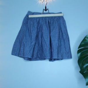 American Apparel Faux Denim Mini Flare Skirt